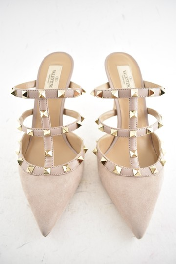 Valentino Studded Pointed Toe Leather Ankle Strap Branded Insole Nude Pumps Image 4