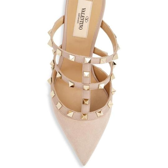 Valentino Studded Pointed Toe Leather Ankle Strap Branded Insole Nude Pumps Image 5