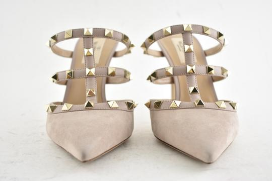 Valentino Studded Pointed Toe Leather Ankle Strap Branded Insole Nude Pumps Image 6