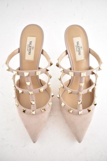 Valentino Studded Pointed Toe Leather Ankle Strap Branded Insole Nude Pumps Image 7