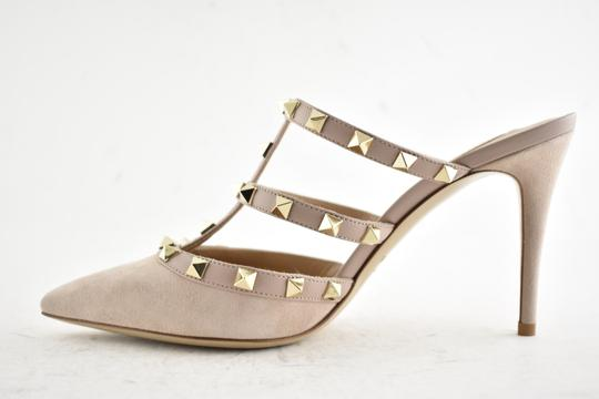 Valentino Studded Pointed Toe Leather Ankle Strap Branded Insole Nude Pumps Image 8