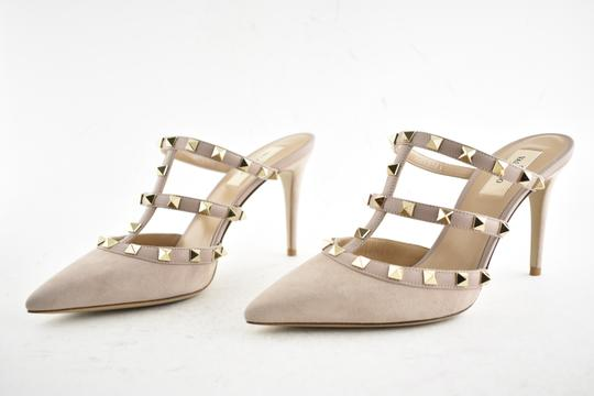Valentino Studded Pointed Toe Leather Ankle Strap Branded Insole Nude Pumps Image 9