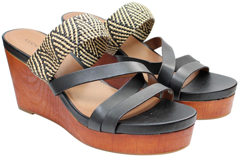 ae904e25ea4f Lucky Brand Leather Braided Wood Wedge Wicker Black Sandals Image 0 ...