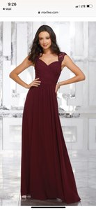 Mori Lee Claret Chiffon Style 21534 Formal Bridesmaid/Mob Dress Size 6 (S)