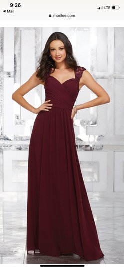 Mori Lee Claret Chiffon Style 21534 Formal Bridesmaid/Mob Dress Size 6 (S) Image 0