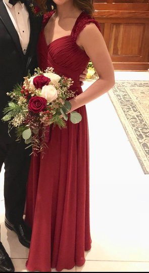 Mori Lee Claret Chiffon Style 21534 Formal Bridesmaid/Mob Dress Size 6 (S) Image 2