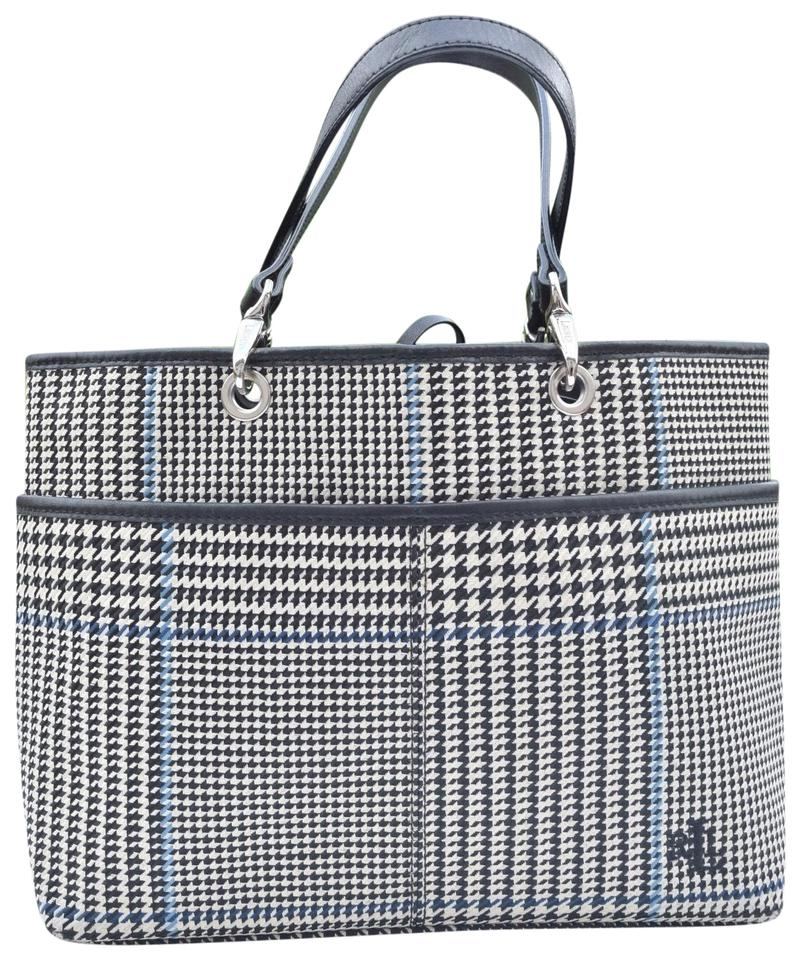 67cc4584cd Ralph Lauren Houndstooth Cream Brown Blue Canvas & Leather Tote ...