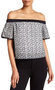 Rag & Bone Offtheshoulder Floral Lace Ragandbone Top Black And White