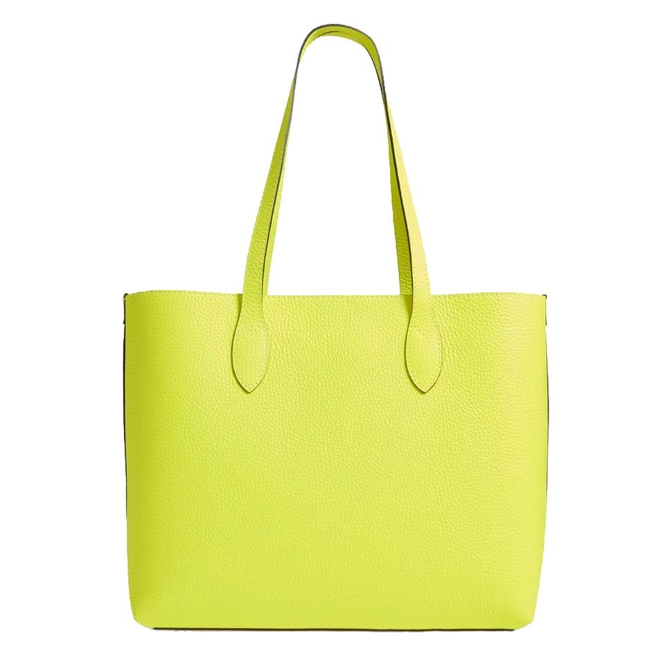 2fe199a98dc6 Burberry Large Remington Logo Neon Yellow Leather Tote - Tradesy