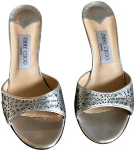Jimmy Choo Anna Anka Open Toe Silver/Blue Sandals