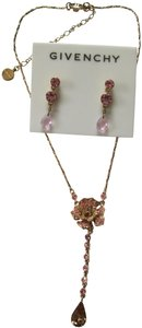 Givenchy Pink 3D Rose Crystal Dangle Earrings Chain Pendant Necklace Set
