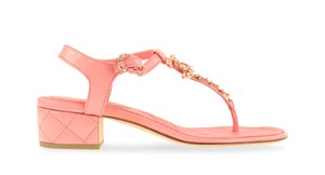 Chanel Leather Quilted Pink Sandals