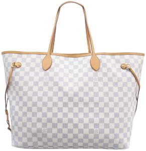 59f5c02604c5f Louis Vuitton Lv Neverfull Damier Azur Gm Canvas Shoulder Bag