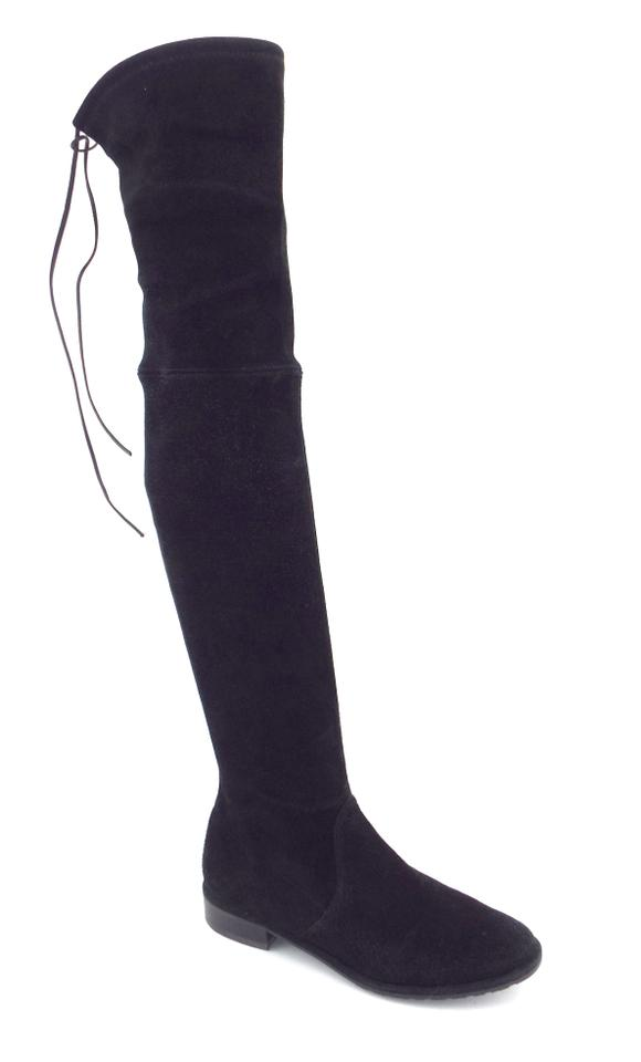 4ae3171fa20 Stuart Weitzman Black Stretch Suede Leather Over The Knee Boots Booties