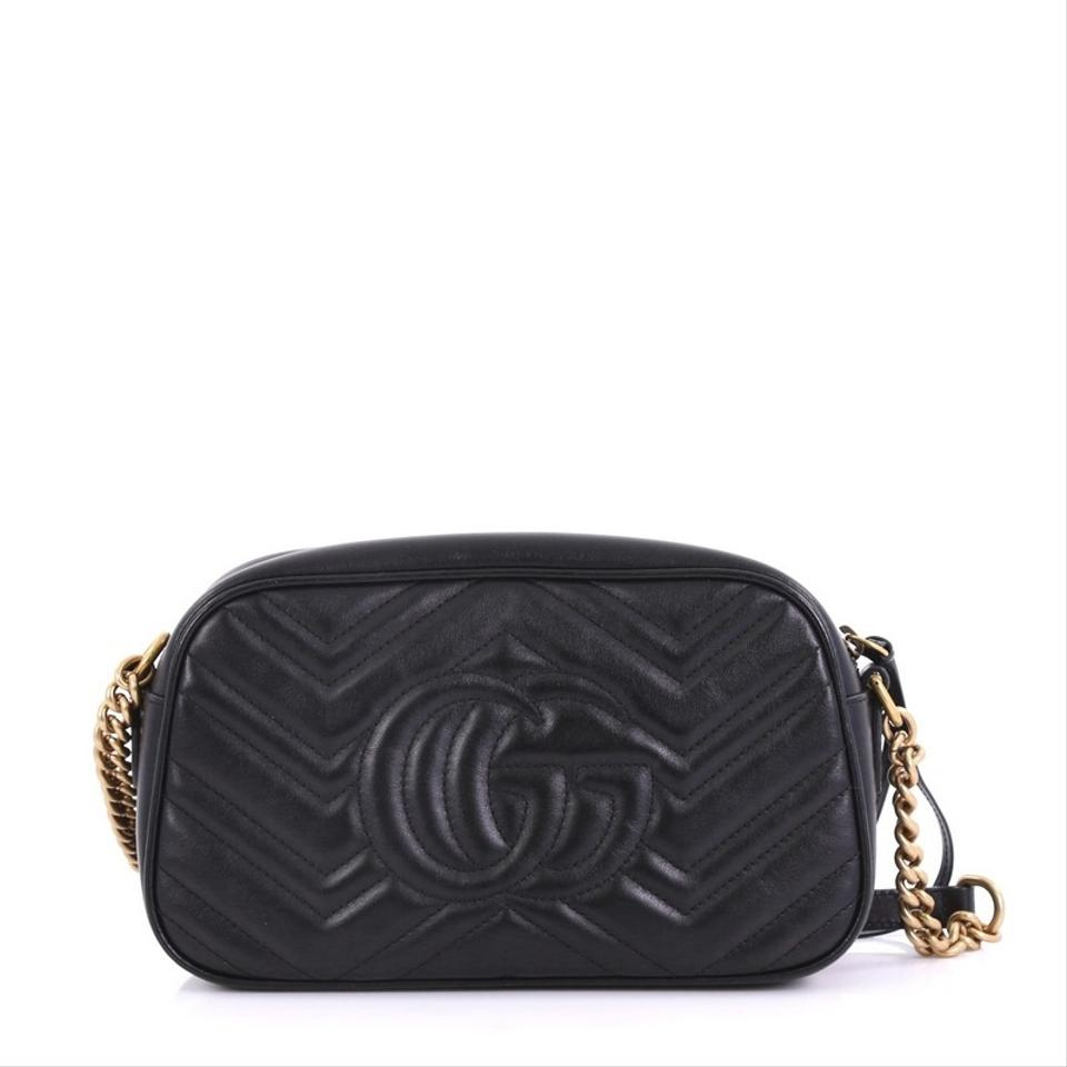 7b678731b64 Gucci GG Marmont Matelasse Small Black Leather Shoulder Bag - Tradesy