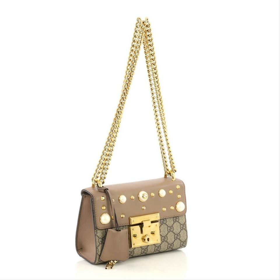 6f116f40477 Gucci Padlock Pearly Gg Coated with Studded Leather Smal Brown ...