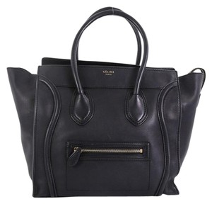 Céline Leather Luggage Tote in black