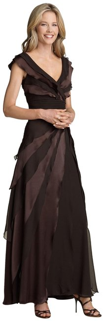 Item - Brown Tiered Silk Gown Long Formal Dress Size 14 (L)
