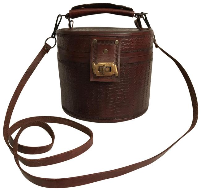 Item - Hand Tooled Top Handle Brown Leather Satchel