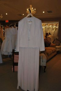 Daymor Couture Ivory Bone Acetate 7013 Mother Jacket Formal Bridesmaid/Mob Dress Size 14 (L)