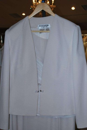 Daymor Couture Ivory Bone Acetate 7013 Mother Of Jacket Formal Dress Size 14 (L)