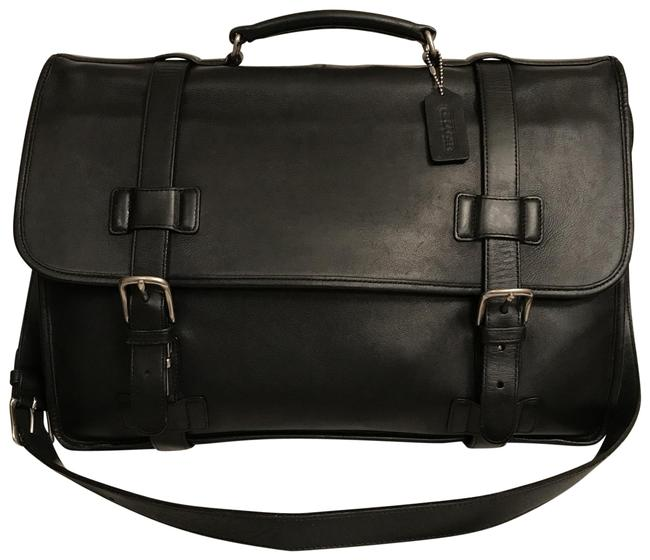 Item - Portfolio Madison Briefcase Attache 5325 Black Silver Leather Laptop Bag