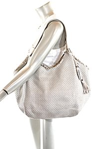 Henry Beguelin Handmade Woven Leather Leather Satchel in Silver