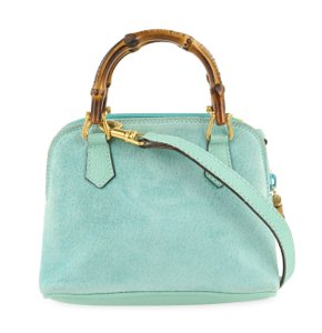 Gucci Suede Bamboo Mini Satchel in Blue