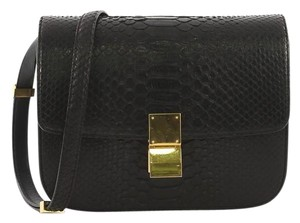 Céline Python Classic Box Satchel in black
