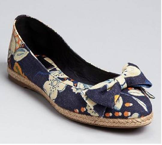 Tory Burch Blue floral print Flats Image 8
