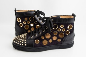 Christian Louboutin Purple Bubble Gold Spike Flat Suede High Top Sneakers Pur Shoes