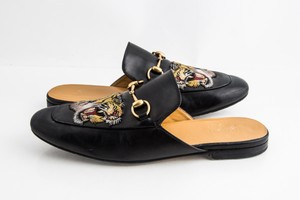 Gucci Black Kings Tiger Leather Mule Shoes