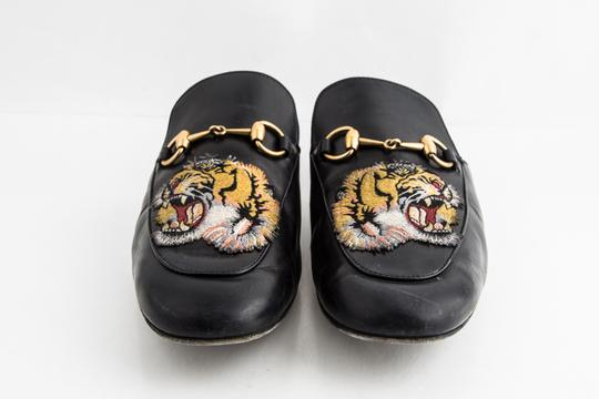Gucci Black Kings Tiger Leather Mule Shoes Image 1
