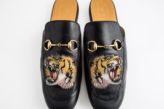 Gucci Black Kings Tiger Leather Mule Shoes Image 11