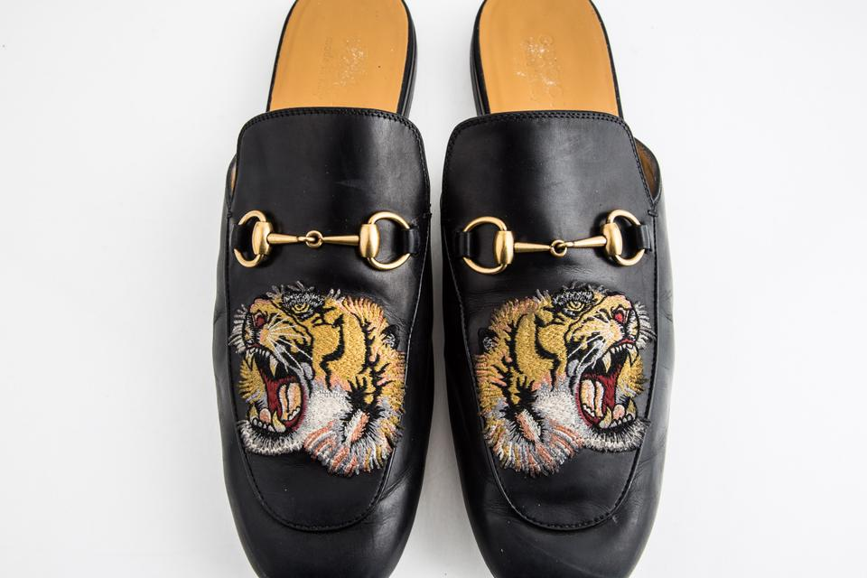 985ab7f11 Gucci Black Kings Tiger Leather Mule Shoes Image 11. 123456789101112