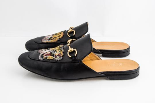 Gucci Black Kings Tiger Leather Mule Shoes Image 2