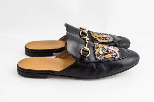 Gucci Black Kings Tiger Leather Mule Shoes Image 3
