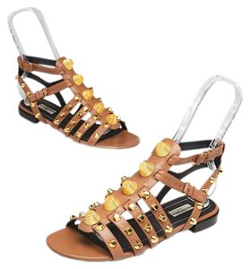 8282d2a62675 Balenciaga Studded Giant Gold Hardware Arena Gladiator Brown Sandals
