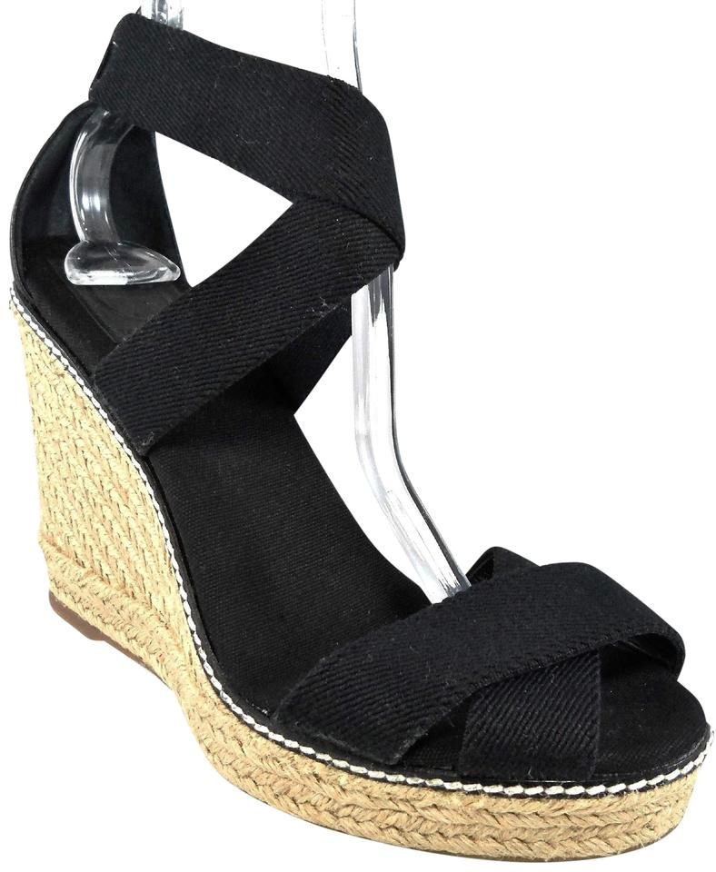 4881d04e609a Tory Burch Black Adonis Espadrille Criss Cross Ankle Sandals Wedges ...