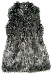 RXB Thigh Length Sleeveless Coat Faux Fur Hook Closure Vest