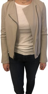 Vince Fitted Lambskin Soft Dove Grey Leather Jacket
