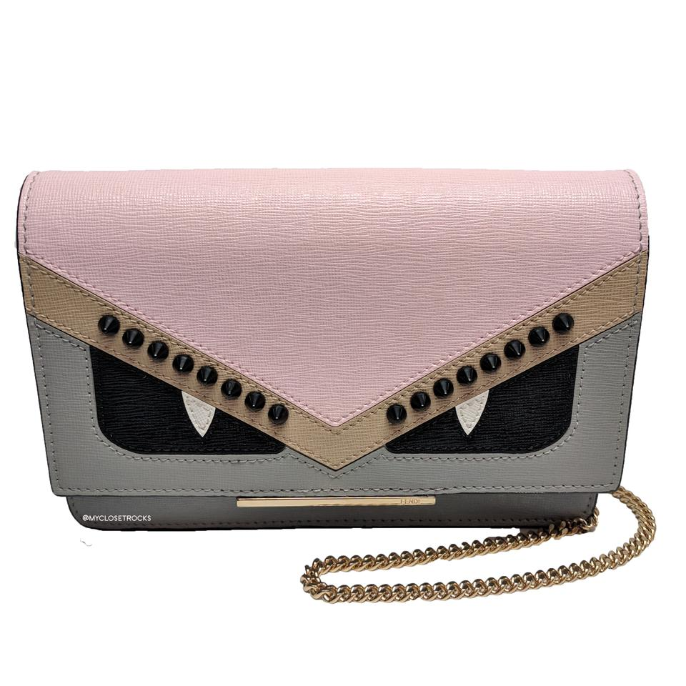 7ac775a6b7c0 Fendi Monster Wallet On Chain Mini Crossbody Pink and Blue Clutch Image 0  ...