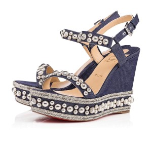 eff7330d9f88 Christian Louboutin Pigalle Stiletto Classic Galeria Studded blue Wedges