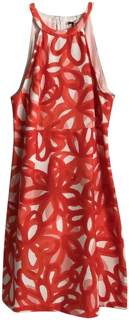 Item - Red-orange/White New Stretch Racerback Floral Red-orange/White Short Casual Dress Size 4 (S)