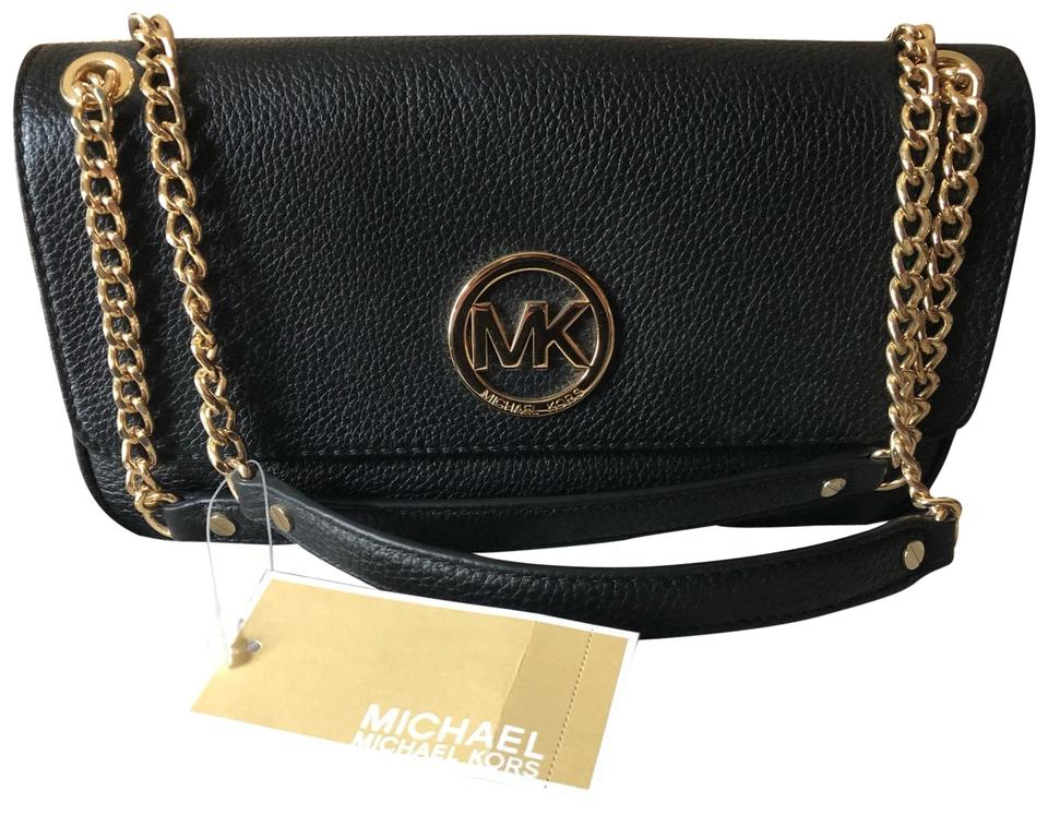2ea3c72a76a Michael Kors New Black Purse Black - Gold Chain Leather Cross Body ...