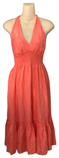 Item - Peach Silk Mid-length Casual Maxi Dress Size 6 (S)