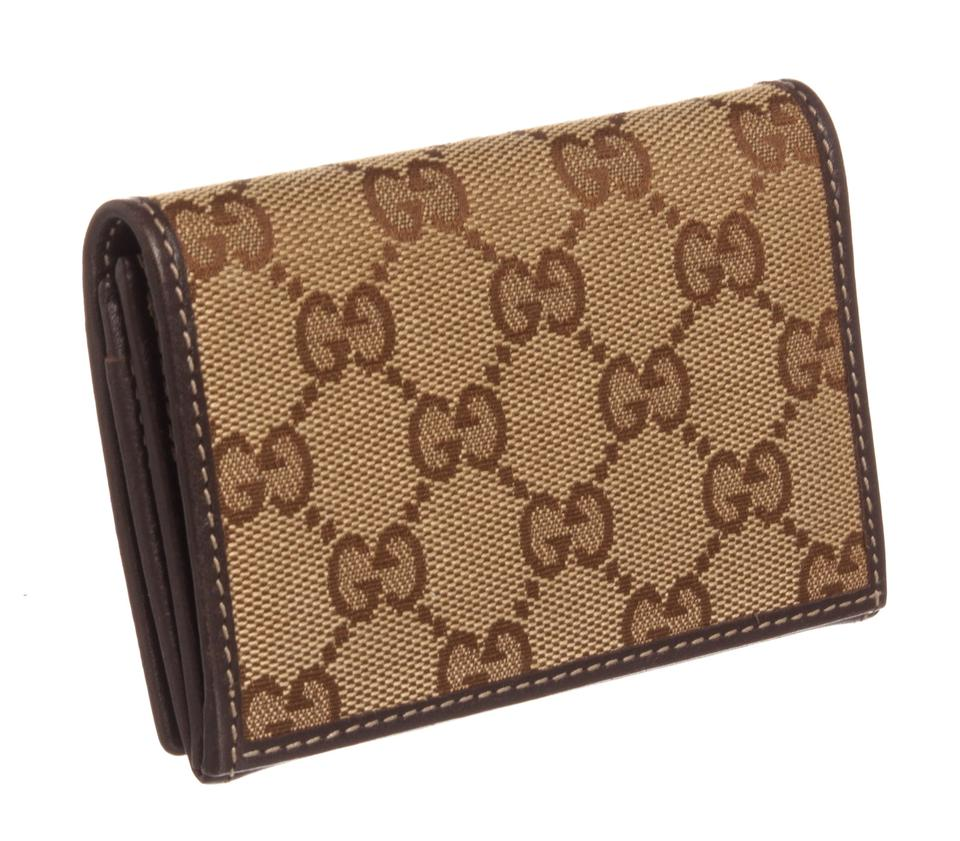5a3fdb82f36d Gucci Gucci Brown Monogram Canvas Leather Heart Cardholder Wallet Image 6.  1234567