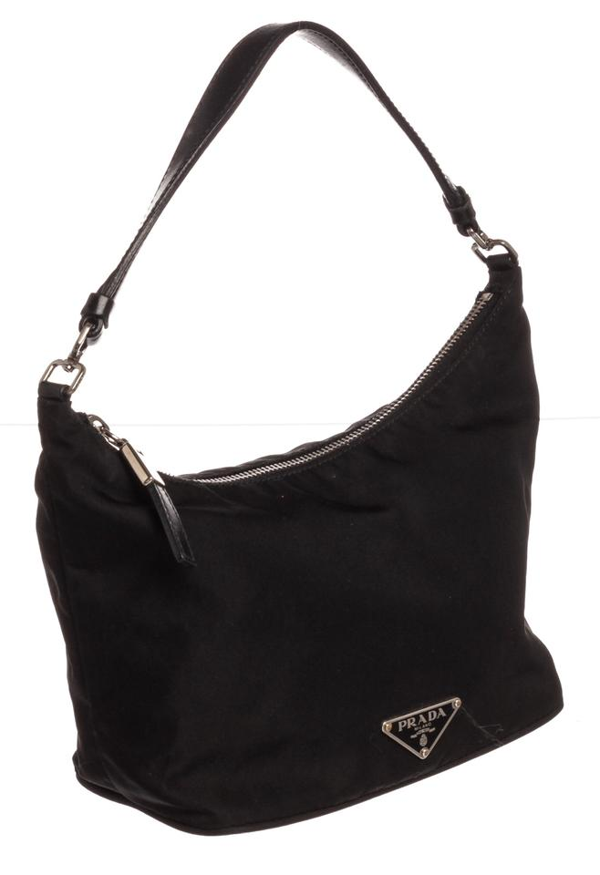 9cc22a135b13 Prada Trim Small Pochette Black Nylon and Leather Shoulder Bag - Tradesy