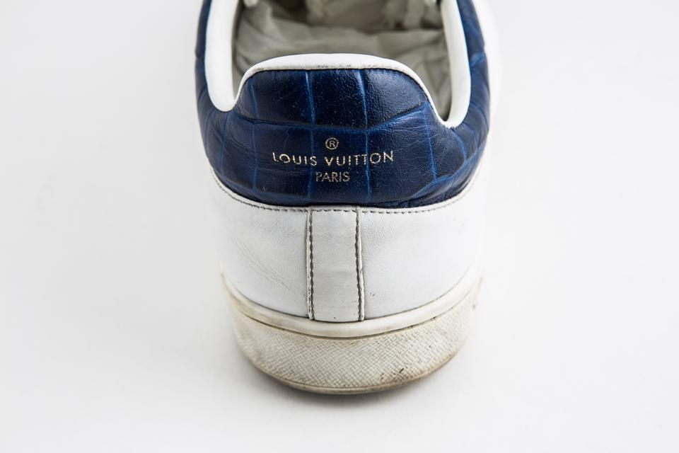 95be6ce5f26 Louis Vuitton White Luxembourg Sneaker In Bleu Shoes 35% off retail