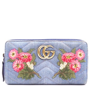 Gucci Marmont GG Floral Embroidered Continental quilted denim zippy wallet